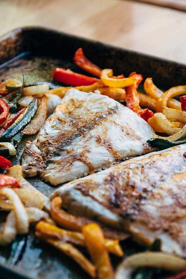Sheet pan fajitas with seafood and an easy fajita marinade