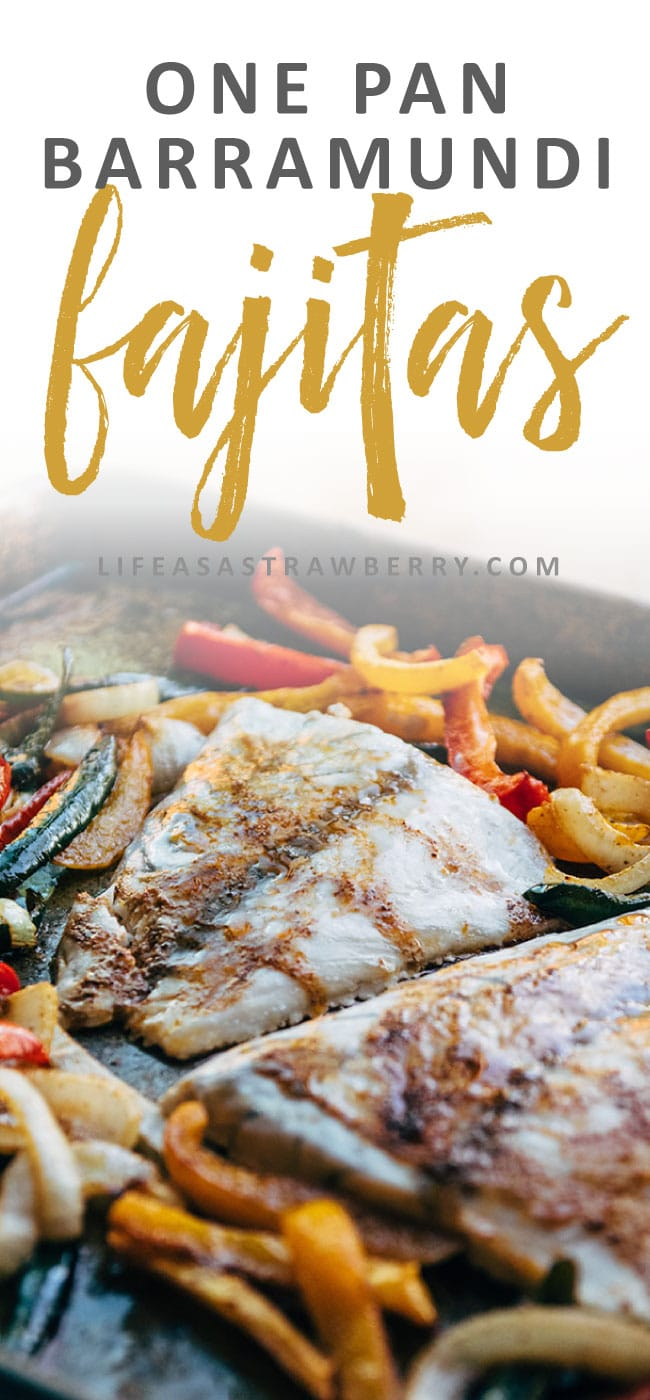 Barramundi Sheet Pan Fajitas - This easy one pan fajita recipe is perfect for busy weeknights! Made with delicious barramundi, a meaty white fish, and plenty of fresh veggies. Ready in 30 minutes.