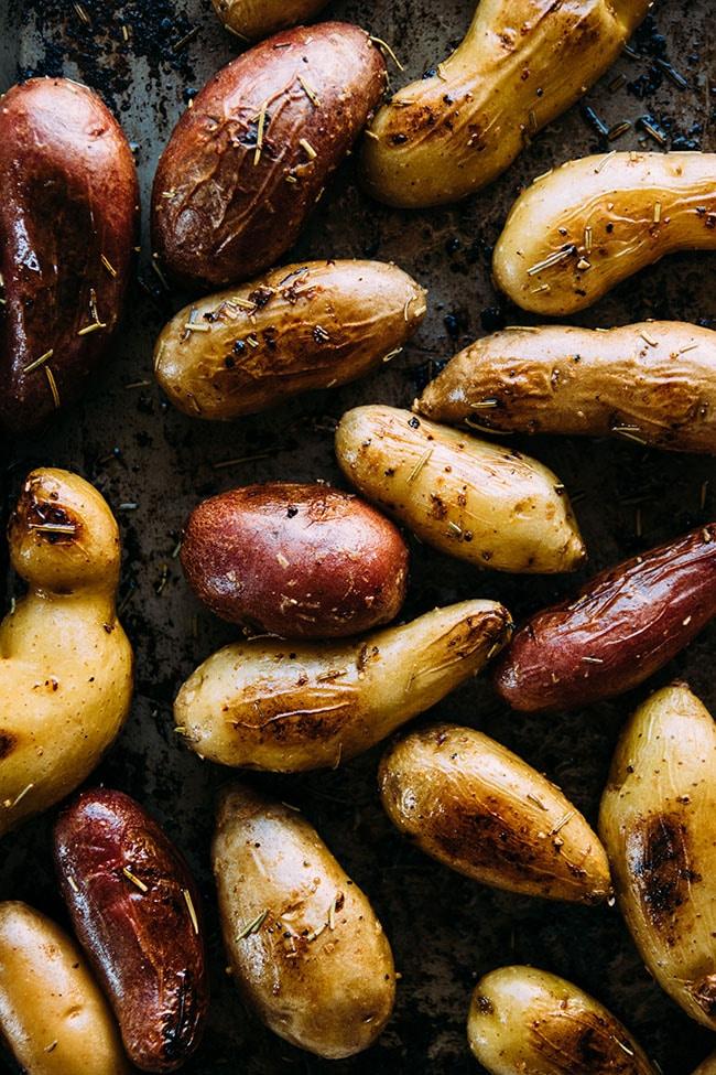 Fingerling Potatoes in a sheet pan salmon recipe