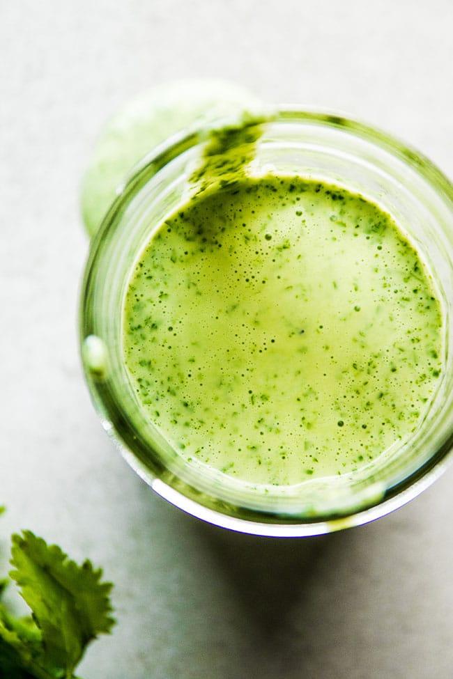 Easy cilantro Greek yogurt dressing