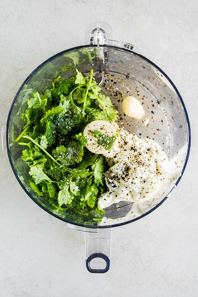 Simple cilantro yogurt dressing.