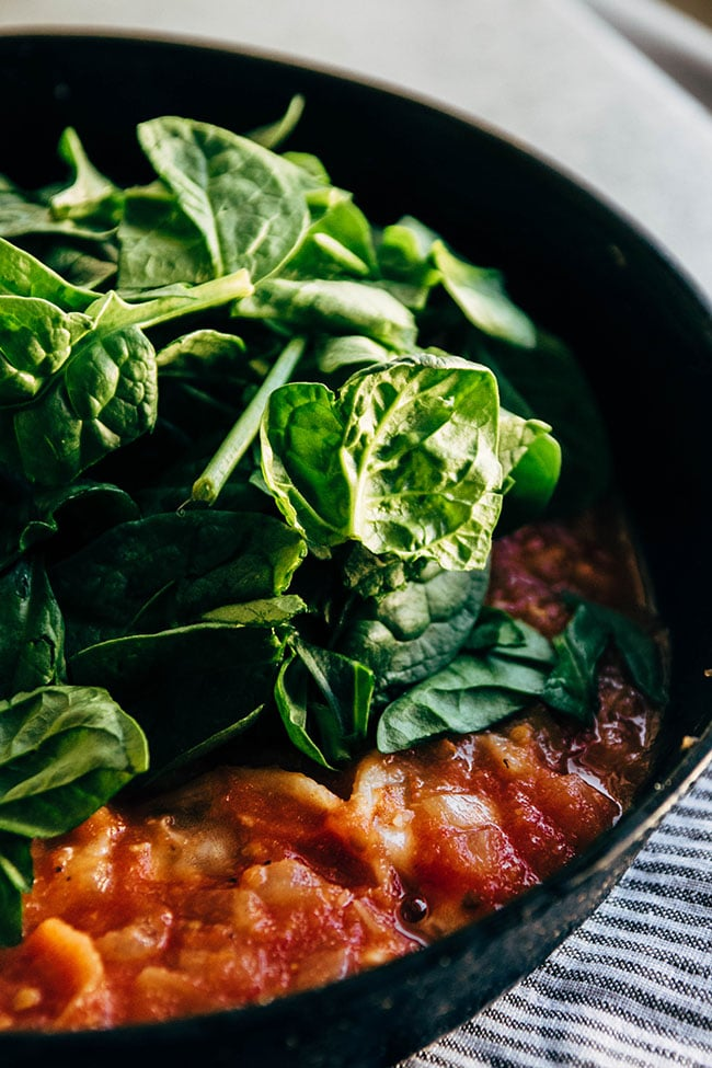 Spinach for tomato basil shrimp