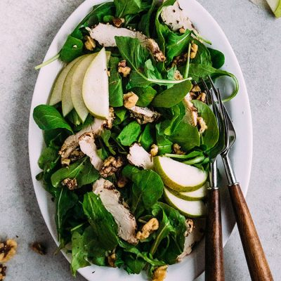 Grilled Chicken Arugula Salad with Pears and Walnuts