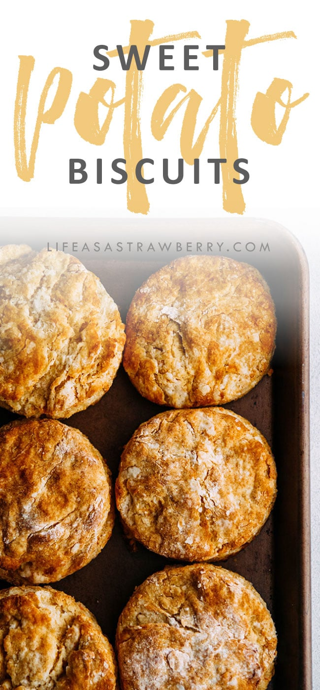 overhead photo of sweet potato biscuits on a baking sheet with text overlay