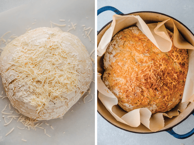 side by side photo of uncooked french bread and cooked french bread in a blue pot