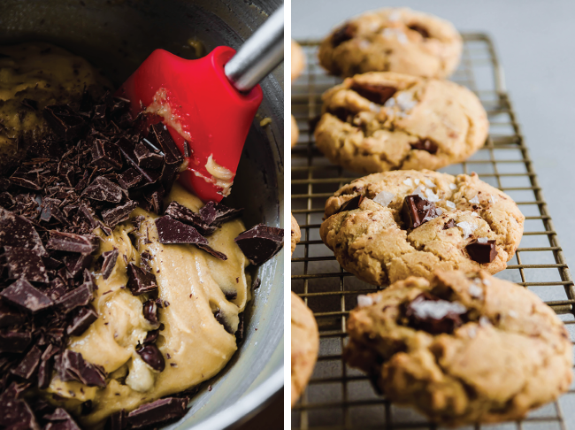 side by side photos of cookie dough and baked chocolate chip cookies