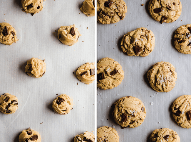 before and after photos of raw and baked chocolate chip cookie dough