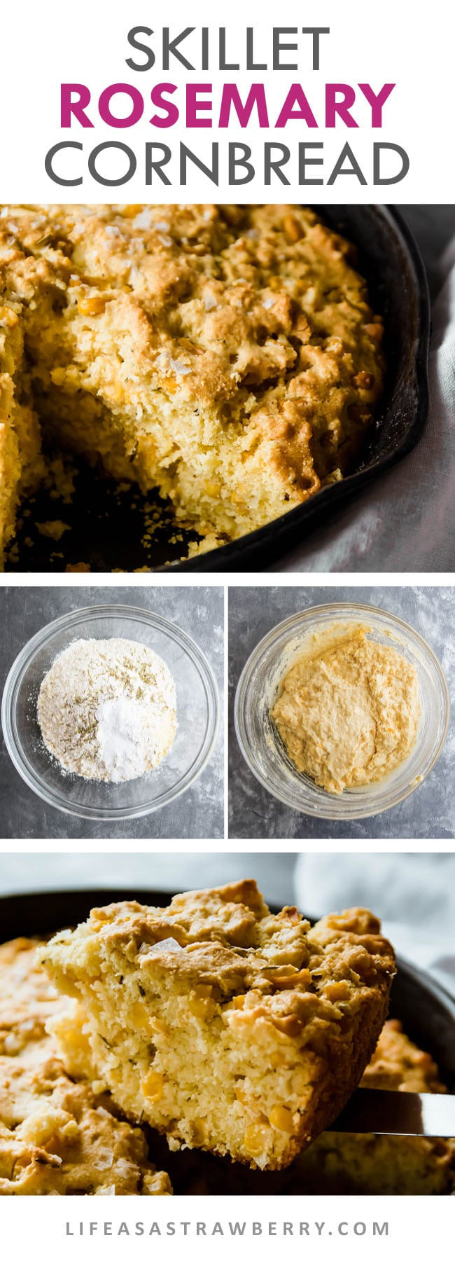 photo illustration with text of how to make skillet cornbread