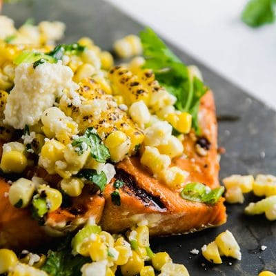Grilled Salmon with Cotija Corn Salsa