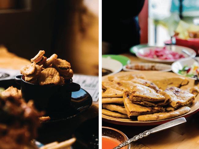 side by side photos of fried pickles and pupusas