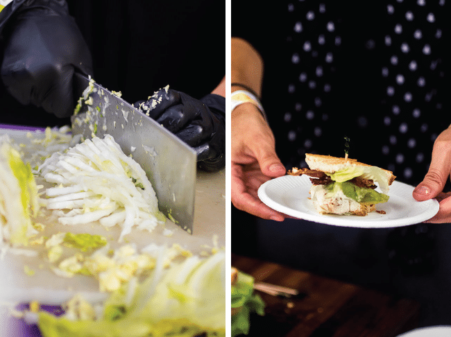 hands chopping cabbage with a large knife next to a blt sandwich