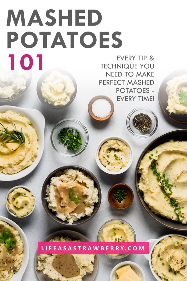 Multiple small bowls of mashed potatoes on a white background with a text overlay