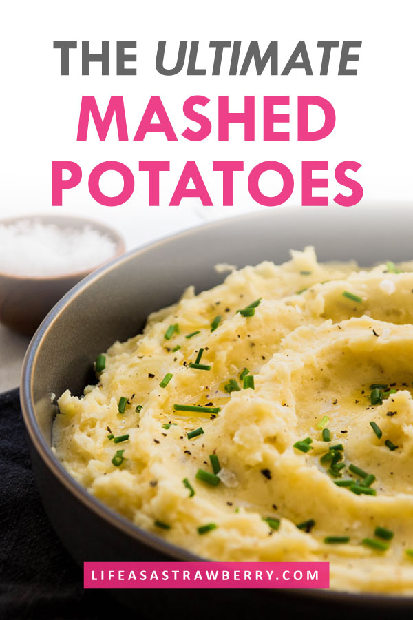 Photo of mashed potatoes in a grey bowl with text overlay