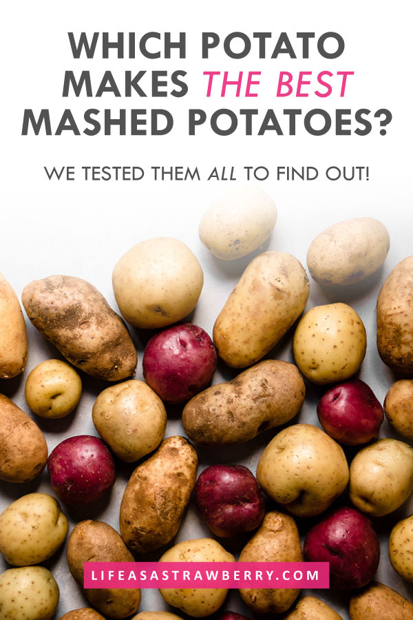 Overhead photo of multiple potatoes on a white background with grey text