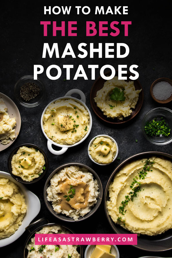 Overhead photo of multiple bowls of mashed potatoes on a black background with white text overlay