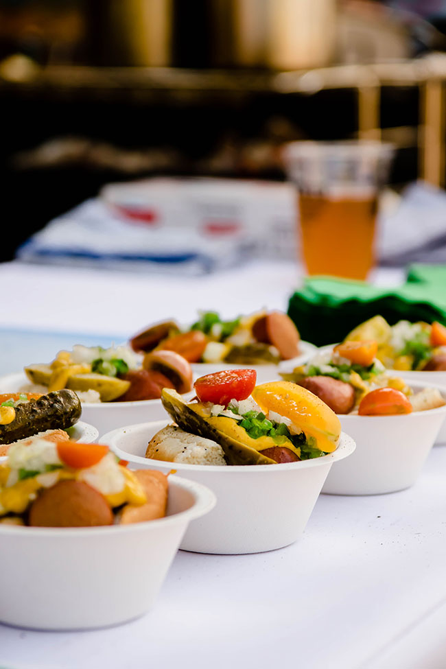 Mini Chicago Hot Dogs in White Bowls