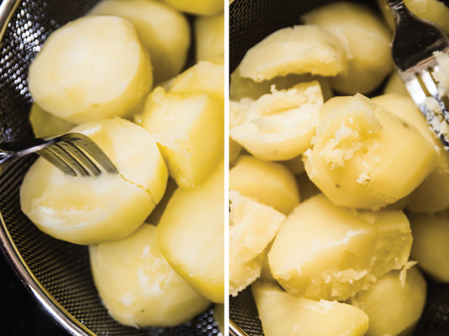 side by side photos of cooked potatoes being pierced with a fork to test for doneness