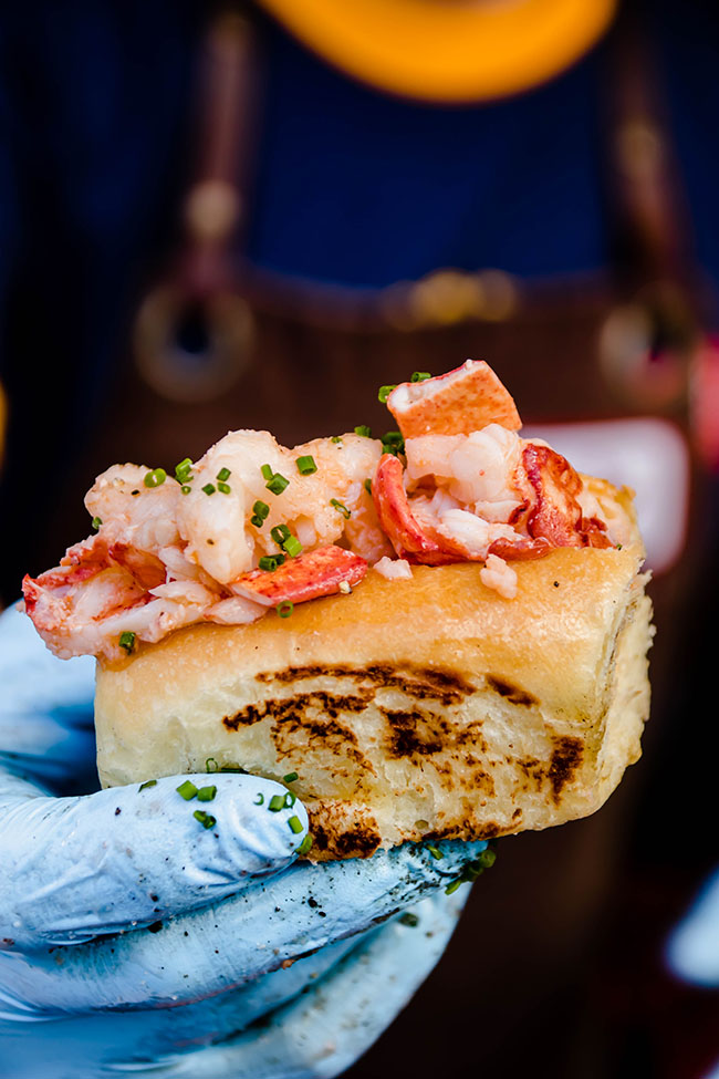 man's hand in a blue glove holding a mini lobster roll