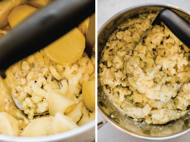 photo collage illustrating how to mash potatoes with a potato masher