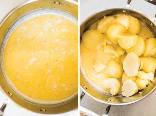 side by side overhead photos of melted butter and cream in a pot next to a photo of the same pot with cooked potatoes added