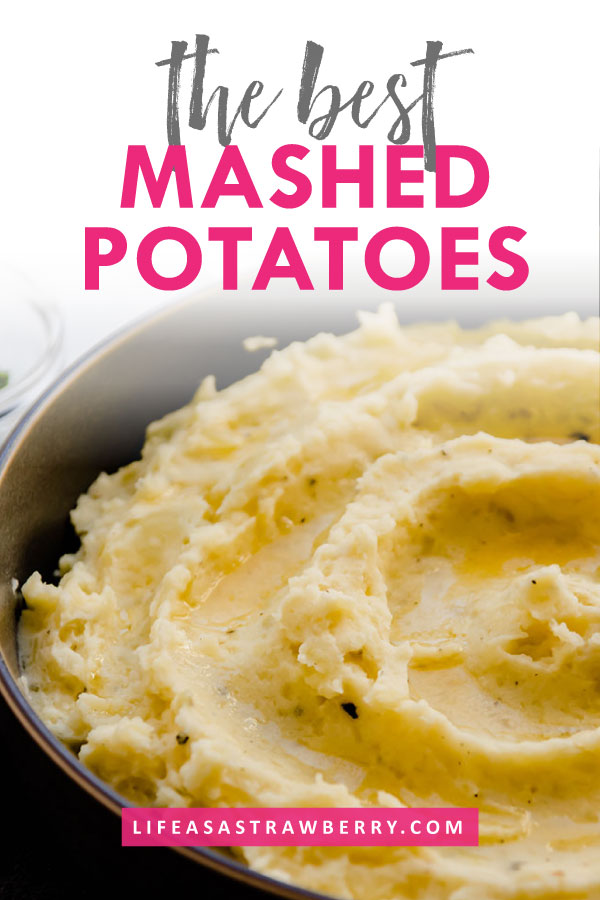 mashed potatoes in a grey bowl with pink text overlay