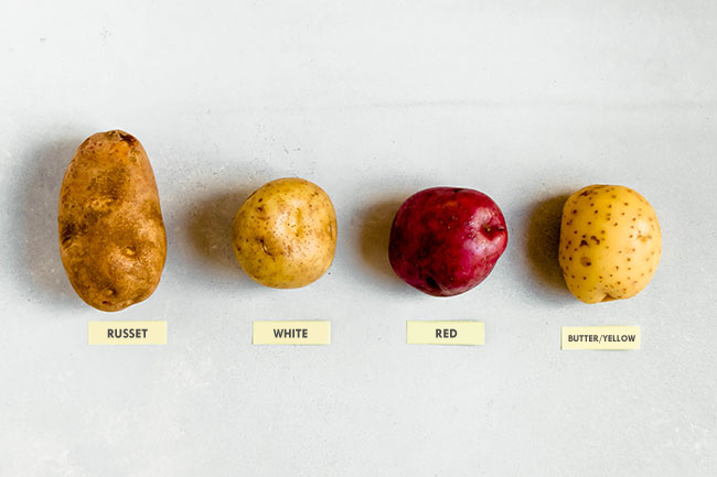 overhead photo of four types of potatoes laid in a line on a white background with post-it labels: russet, white, red, yellow