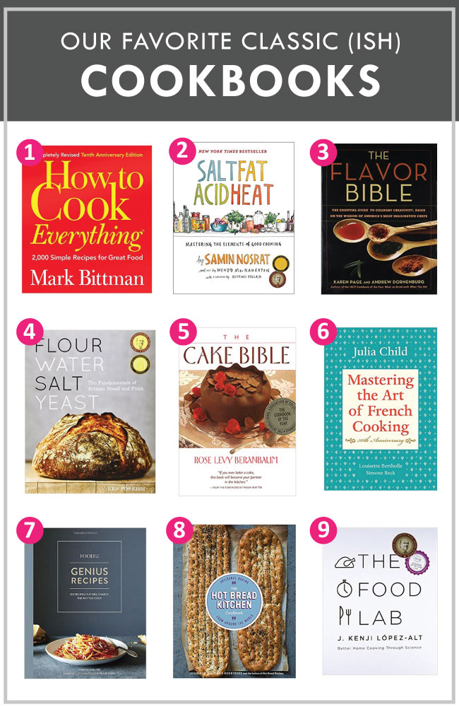 "graphic showing nine cookbook cover images with text overlay that reads ""the best classic cookbooks"""