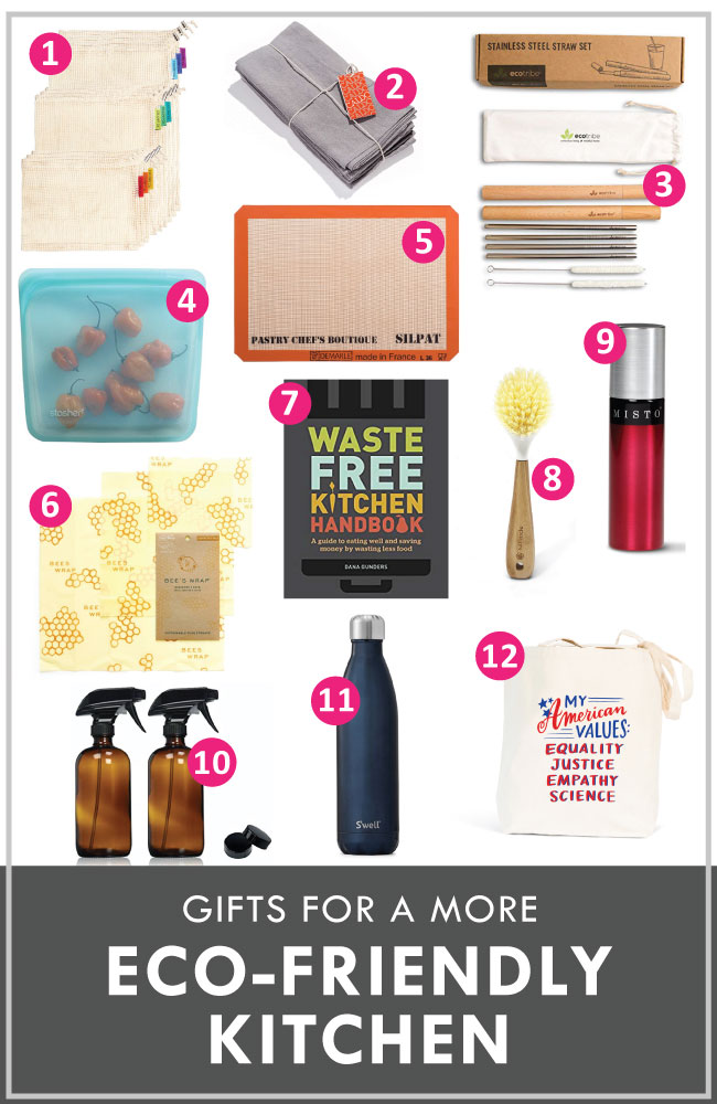 "graphic with a variety of eco-friendly products and a headline that reads ""gifts for a more eco-friendly kitchen"""