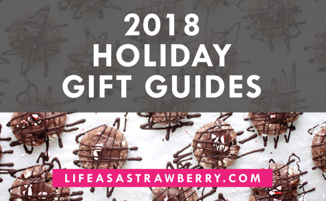"graphic with an overhead photo of christmas cookies with white text overlay that reads ""2018 holiday gift guides"""