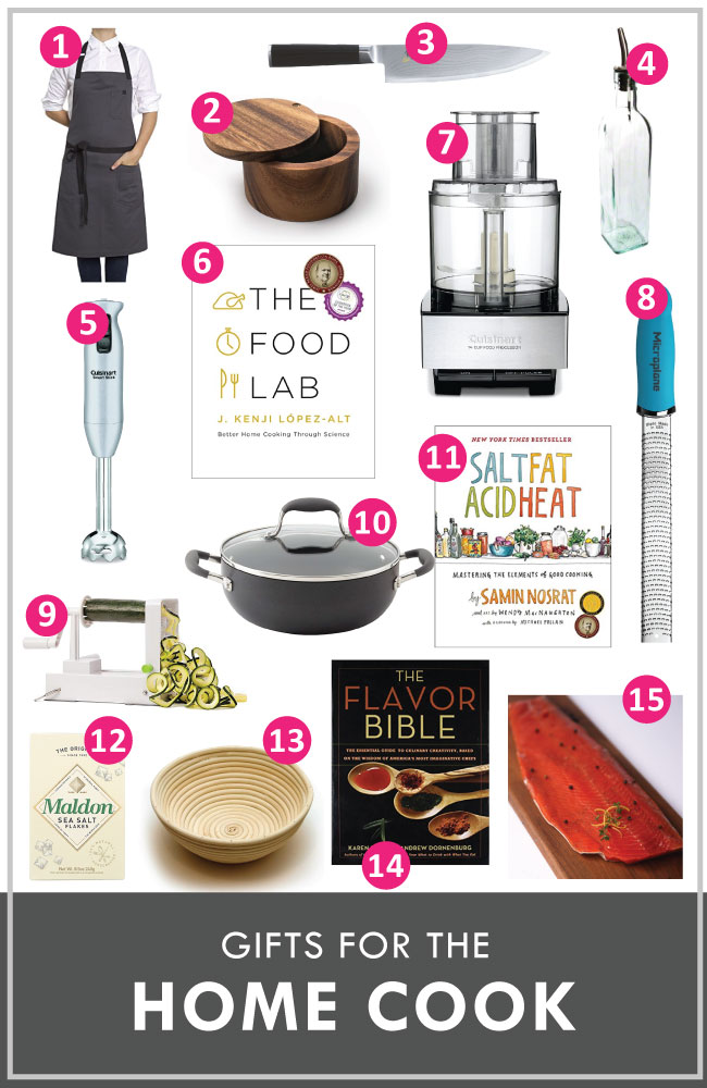 "Graphic with photos of a variety of kitchen equipment, all labeled with pink numbers and with a text overlay that reads ""gifts for the home cook"""