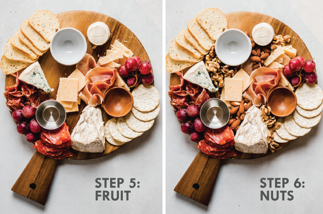 photo collage illustrating the steps to make a cheese plate
