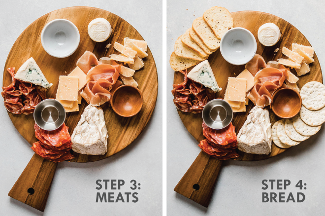 photo collage illustrating the steps of making a cheese plate