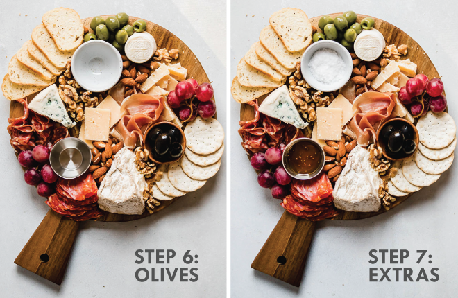 side by side photos illustrating the steps of making a cheese plate