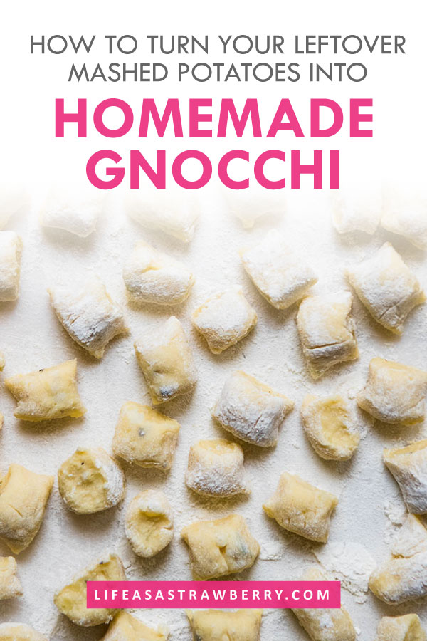 overhead photo of uncooked gnocchi on a white cutting board with text overlay
