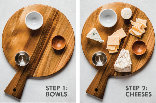 overhead side by side photos of a wooden cutting board with small bowls and cheeses on top