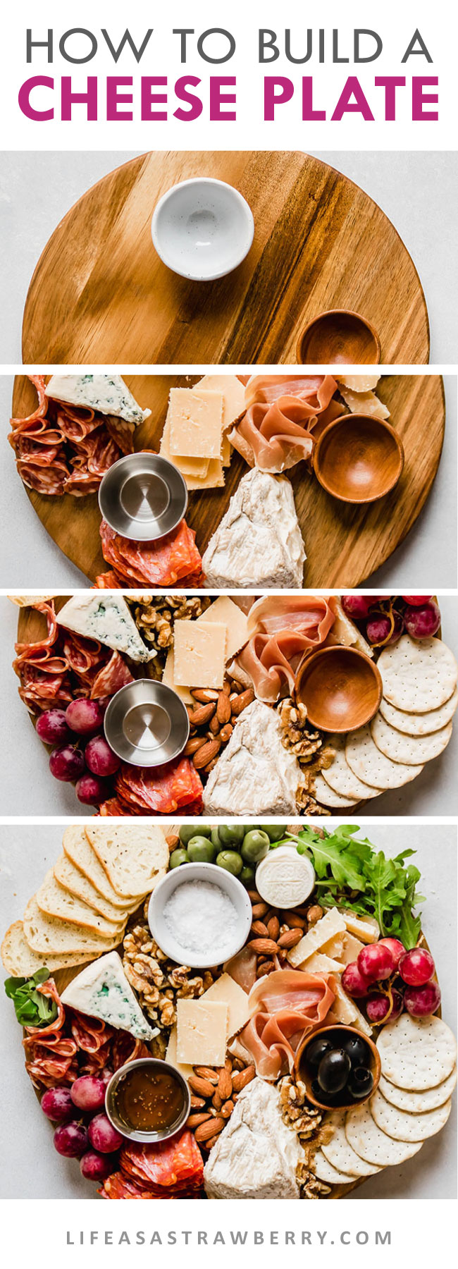 photo collage of step-by-step cheese plate making