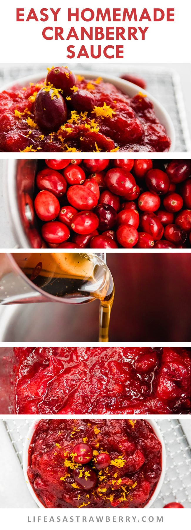 step by step photo collage illustrating how to make homemade cranberry sauce
