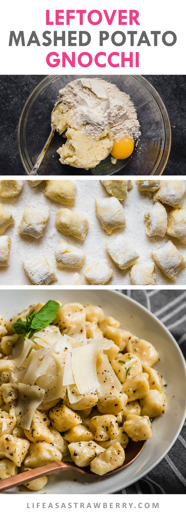 Photo collage of how to make homemade gnocchi
