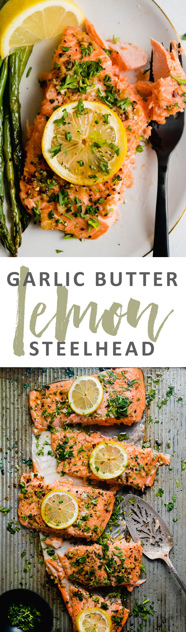 Graphic with two photos of baked steelhead and text overlay