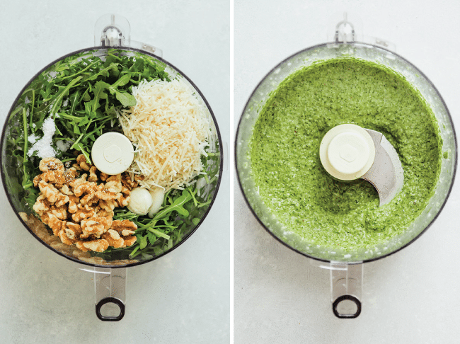 side by side photos of arugula, walnuts, and parmesan cheese in a food processor and arugula pesto in a food processor