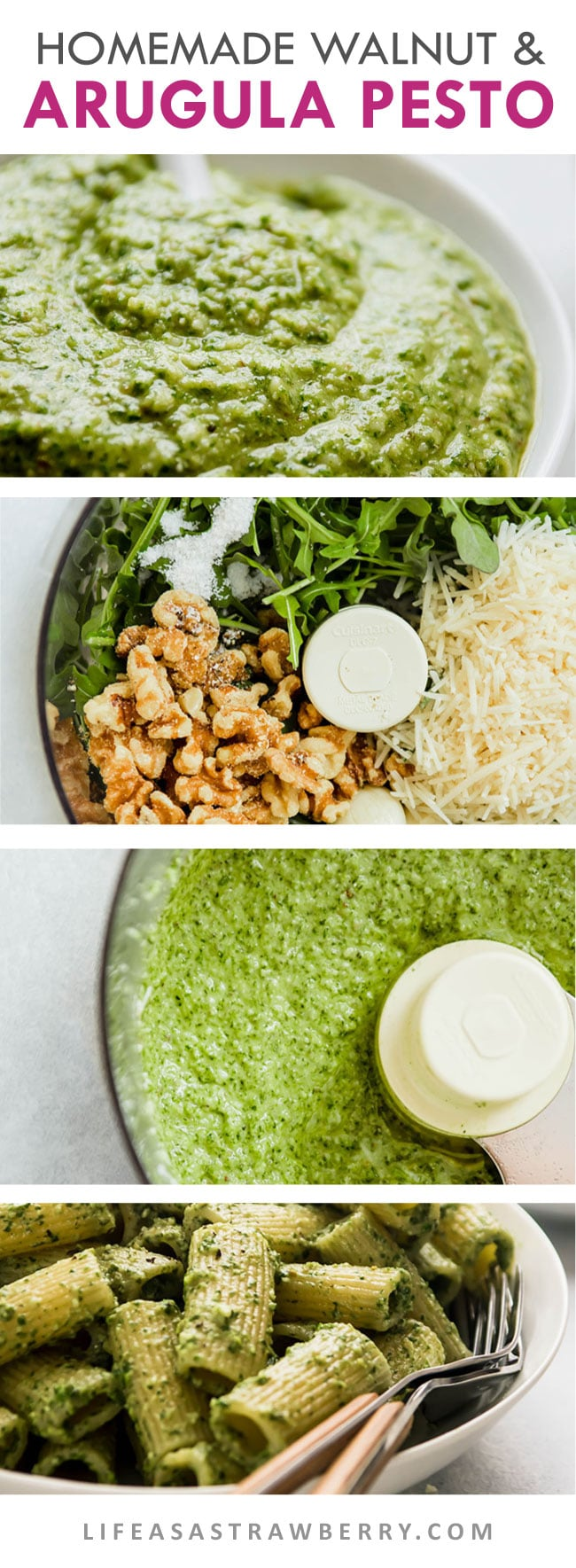 Graphic with step-by-step photos of arugula pesto being made