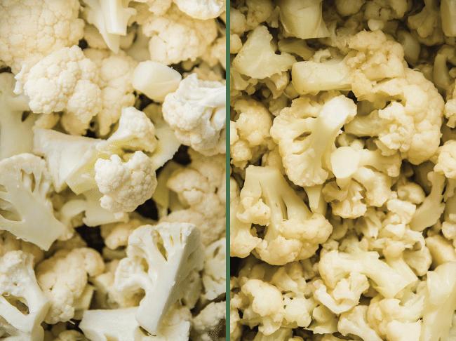 overhead photo of raw cauliflower florets next to cooked cauliflower florets