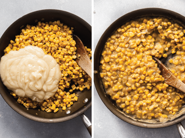Overhead photo of a wooden spoon stirring cauliflower purée into a skillet with sweet corn