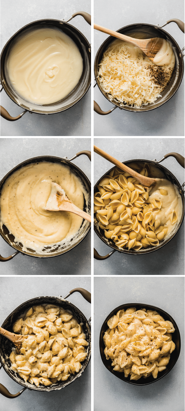 six side-by-side photos in a graphic illustrating each step of how to make mac and cheese