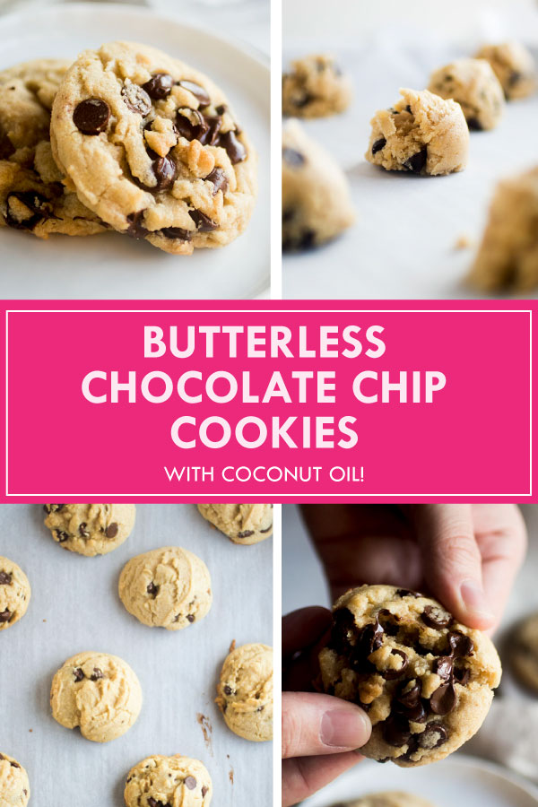 graphic with four photos illustrating how to bake chocolate chip cookies