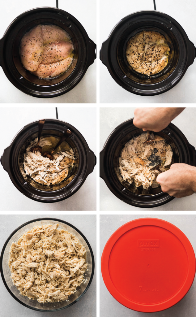 Graphic illustrating how to cook shredded chicken in a slow cooker step by step