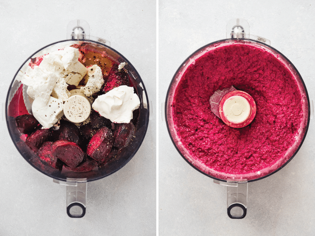 Side by side photos of a food processor filled with roasted beets and goat cheese next to a food processor filled with blended pink beet and goat cheese dip