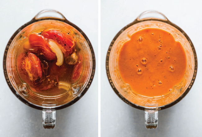 Blender filled with roasted tomatoes next to a blender filled with tomato soup