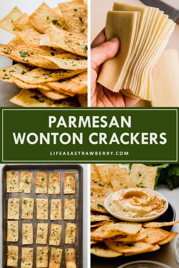 Graphic with step-by-step photos illustrating how to make parmesan wonton crackers