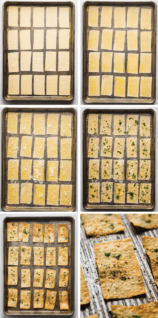 graphic with six photos illustrating each step of cooking wonton crackers